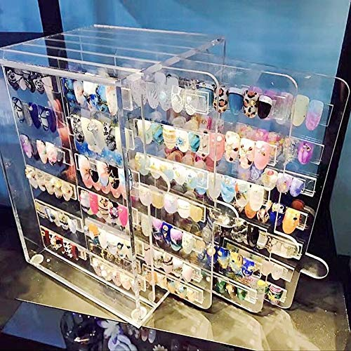 (Sooyee Acrylic Nail Art Kit Display Stand Rack, False Nail Tips Show Panel, Dust-proof,Nail Art Decoration Salon Manicure Tools,Clear(Need to Assemble))