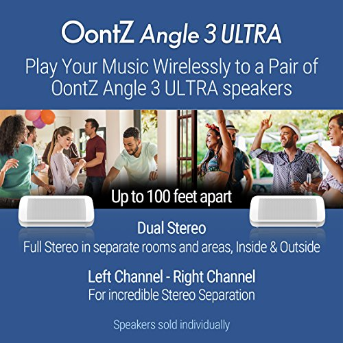 OontZ Angle 3 Ultra - Portable Bluetooth Speaker, 14 Watts, Bigger Bass, Hi-Quality Sound, 100 Ft Wireless Range, Play Two Speakers Together, IPX6, Bluetooth Speakers by Cambridge SoundWorks (White)