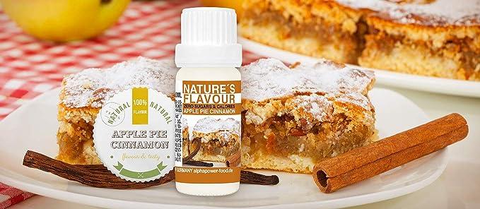 ALPHAPOWER FOOD Aroma alimentario - alimenticio, concentrado 1400%,1x10ml saborizante de alimentos Tarta de manzana canela, vegano, gotas ...