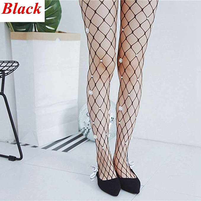 3a16cd68af16f2 Amazon.com: Boutiages Thigh Thin Pearl Flower Stocking Fishnet ...