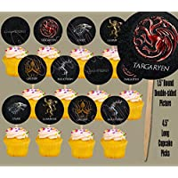 Party Over Here Game of Thrones Houses Double-Sided Images Cupcake Picks Cake Topper -12