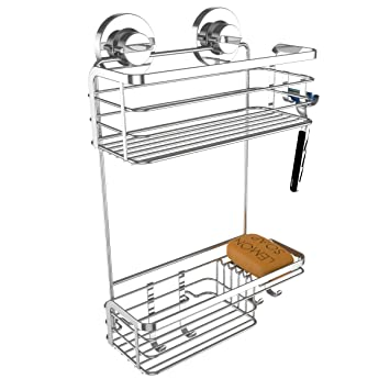 vidan home solutions hanging shower caddy rustproof stainless steel includes 2 superior suction cups