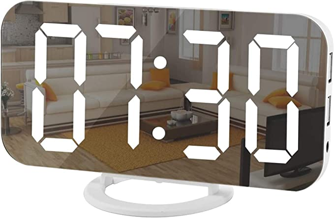 Details about  /Portable Round Oval Digital Display Alarm Clock Night Light Makeup Mirror Trendy