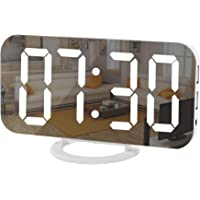 Digital Clock Large Display, LED Electric Alarm Clocks Mirror Surface for Makeup with Diming Mode, 3 Levels Brightness…