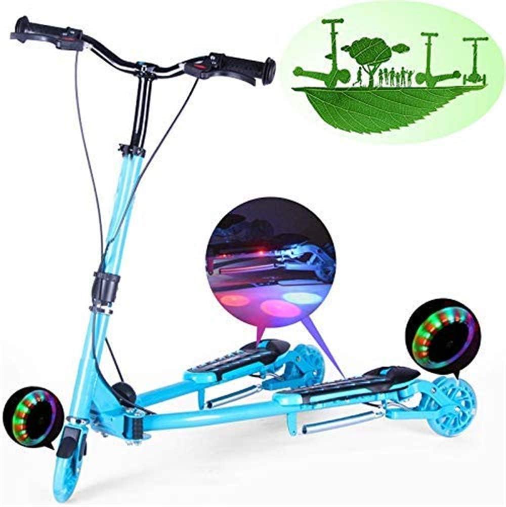 AJH Rana del monopatín de niños Plegable Doble Pedal de Bicicleta de Tres Ruedas Flash de Tijera Carrito,A