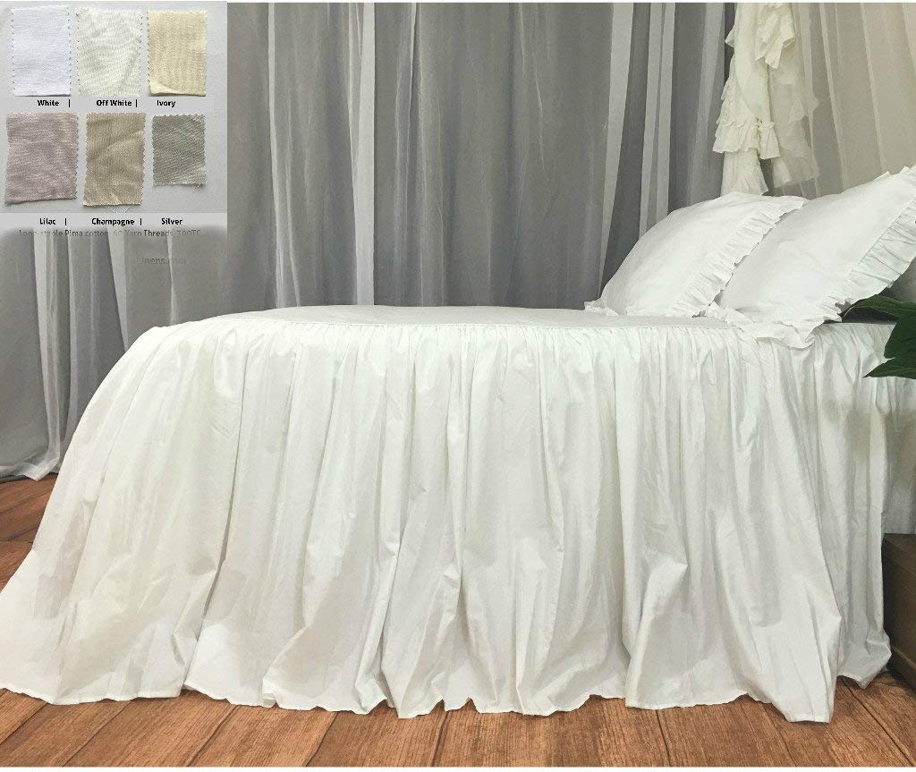 Image of Bedspread, ruffled bed cover custom made from long staple pima cotton – White, Off White, Ivory, Silver, Lilac, Champagne Home and Kitchen