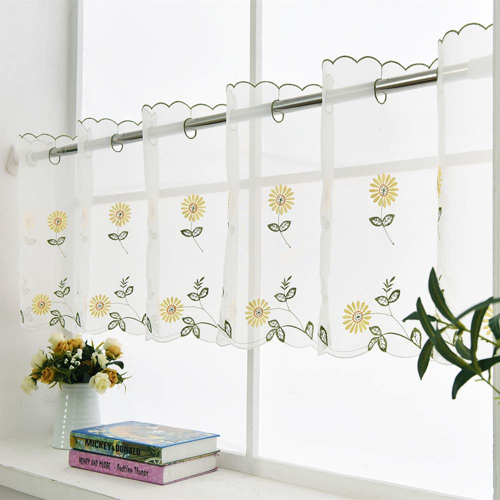 """ZHH 1 Panel Handmade Daisy Embroidery Pastoral Style Cafe Curtain Floral Window Valance(70"""" W x 17"""" H, Yellow)"""