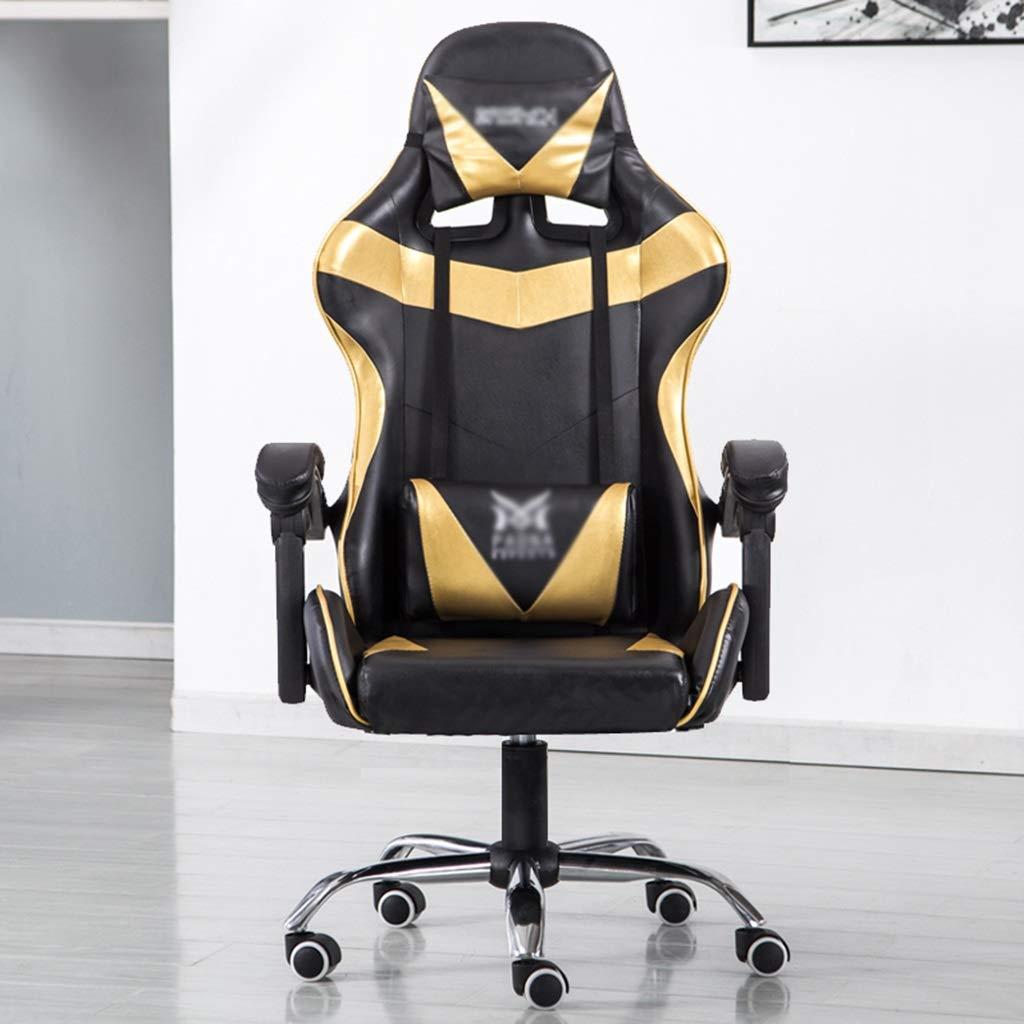 HWH- Multifunktionell stol, stöd midja stol stöd ryggstol PU stol student stol spel stol bord och stol dator stol Sedia del dator Guld Guld