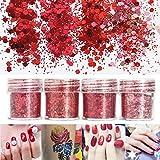 CynKen Red Nail Art Glitter Powder Sequins Decoration Tips 3D Mixed Dust