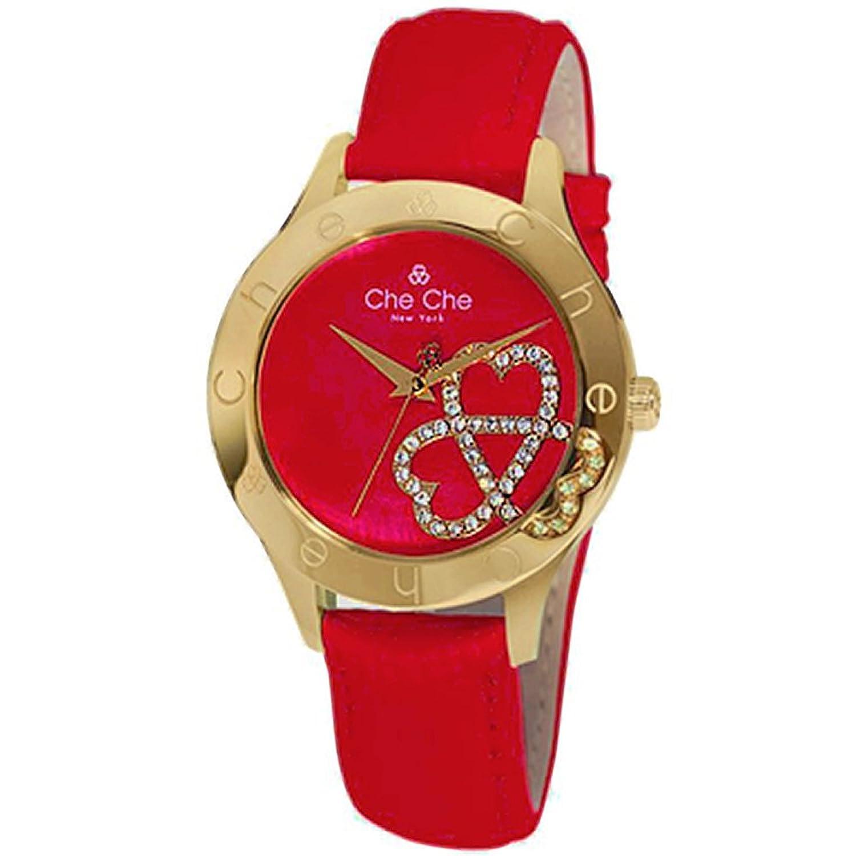 [チチ ニューヨーク] Che Che NewYork 腕時計 ウォッチ スワロフスキー シェル文字盤 本革 レザー ラインストーン レッド レディース [並行輸入品] B014VROS46
