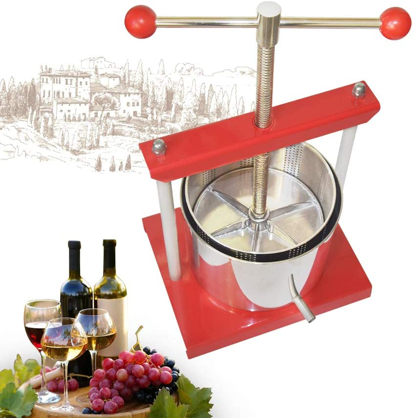 Cheese Tincture Herb Fruit Wine Manual Press -1.6Gallon/ 6 Litre-Power Ball Handle-Stainless Steel & Iron for Juice, Herbal Juice,Cider,Wine,Olive Oil