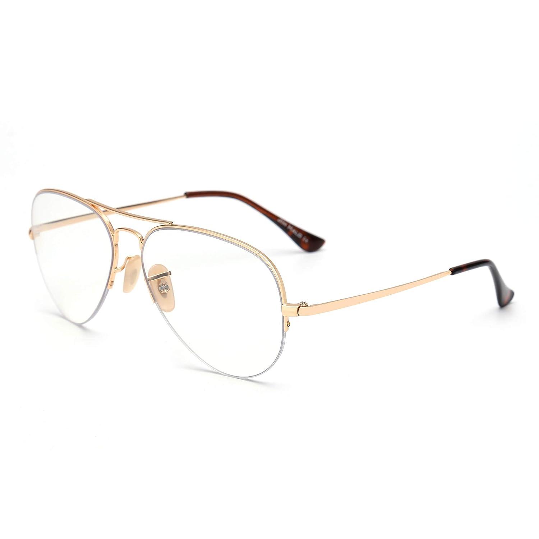 Blue Light Blocking Computer Glasses Retro Rimless Video Eyeglasses Reduce Eye Strain Anti Glare Clear Lens Men Women PD1001C3