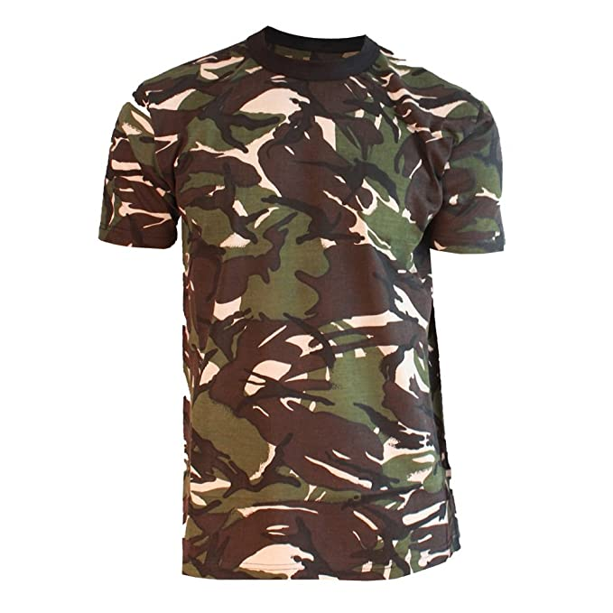Kids Weave Camo Pattern Boys Short Sleeve T-shirt Girls Linen Military Top 3-14Y
