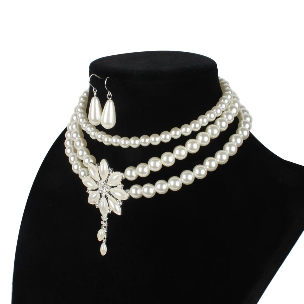 ELFTUNE Women Elegant Multilayer Cultured Pearl Necklace Bead Bib Strand Chain Cluster Flower Bouquets Fashion Jewelry