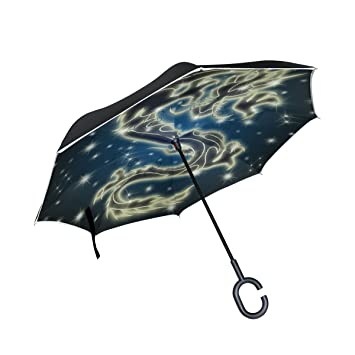 TIZORAX Paraguas reversible de doble capa con mango en forma de C para lluvia, sol