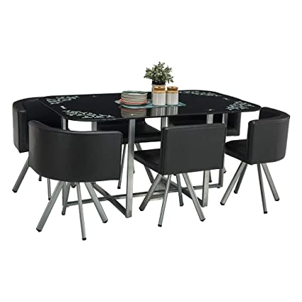 8380bbce7 Durian Contemporary Neon 6 Seater Dining Set Iron (Black)  Amazon.in  Home    Kitchen