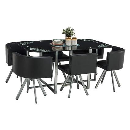 sale retailer 864c7 72e31 Durian Contemporary Neon 6 Seater Dining Set Iron (Black)
