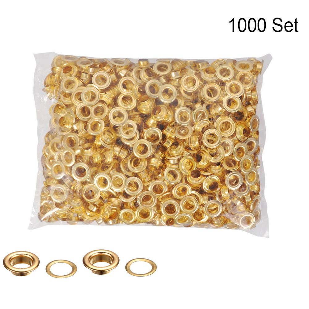 1000pcs #0 1/4 Inch (6mm) Inside Diameter Grommet Setting Tool Grommets Eyelets and Washers Brass Eyelet Die for Shoe Clothes Leather Crafts Bags Tags (#0 Gold)
