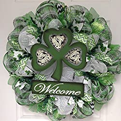 Three Leaf Clover Welcome St. Patrick's Day Deco Mesh Wreath