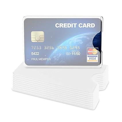 kwmobile 10x Funda Protectora Tarjeta de crédito y débito - Cubierta de protección para Tarjetas - Tarjetero Individual de Color Blanco