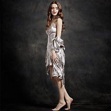 Pajamas Traje de Pijama, algodón con Bolsillos Albornoz, Batas de baño Mujer otoño e