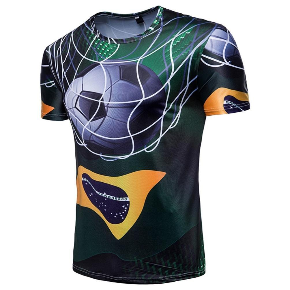 FNKDOR Camiseta Para Hombre de Manga Corta con Estampado de Fútbol Camiseta Larga Para Verano de Copa del Mundo by (L, Verde): Amazon.es: Ropa y accesorios