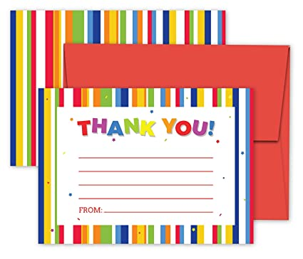 Amazon Com Deluxe Kids Thank You Cards Stationary For Children