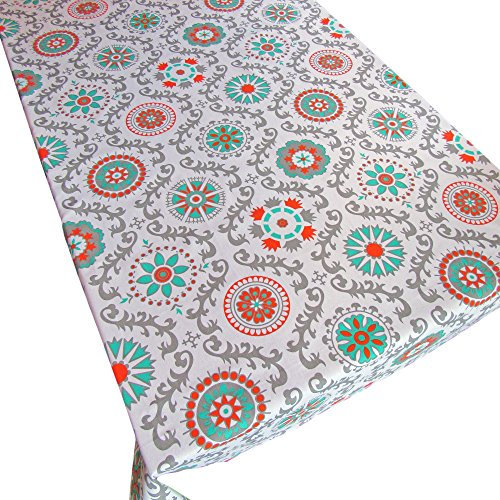 Crabtree Collection Gray Medallion Pinwheel Cotton Square Tablecloth Teal/Orange/Gray Medallion (60 x 60 ()