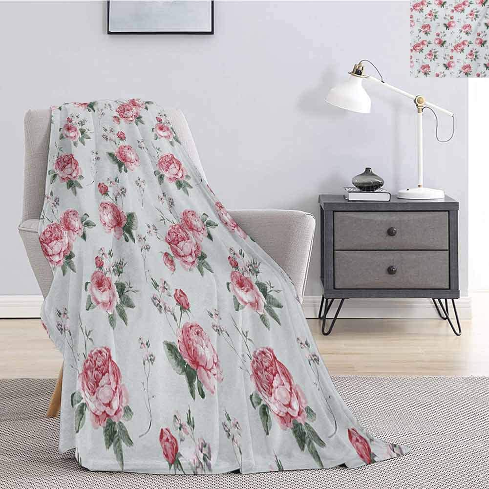 Aishare Store Personalized Throw Blankets,Blooming English Rose Watercolor Painting Style Garden Shabby Chic Wild Flowers Throw Blankets for Girls W60 x L80 Inch,Reseda Green Pink