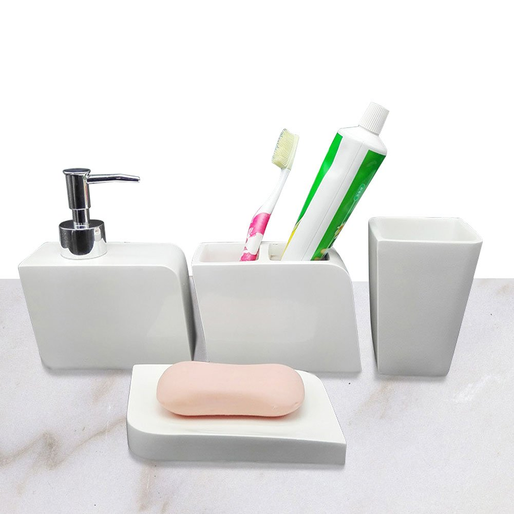 LUANT 4 Piece Resin Bathroom Accessory Set w/Toothbrush Holder, Tumbler, Soap Dish & Dispenser-White