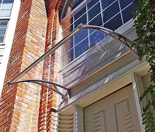 Defacto color gris y transparente de policarbonato transparente Marquesina para puerta de casa incluye material de montaje 120 x 80 cm de acero galvanizado