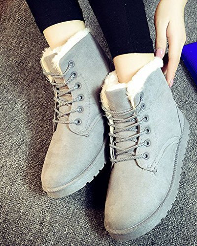 Fur Lace Up Grey Platform Flat Ladies Minetom Sneaker Winter Lined Snow Womens Shoes Ankle Boots FXwSqxIE