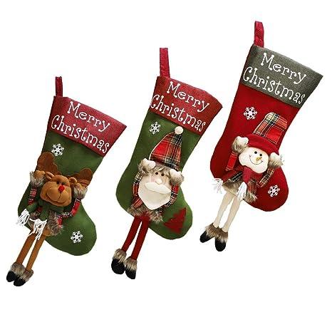 Shanke 3pcs Calcetines de Navidad Medias de Decoracoón de Navidad,Santa Claus, Muñeco de