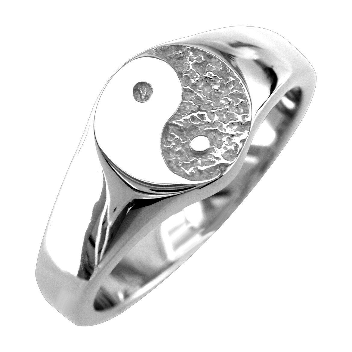 Solid Yin Yang Ring in Sterling Silver - size 6.5