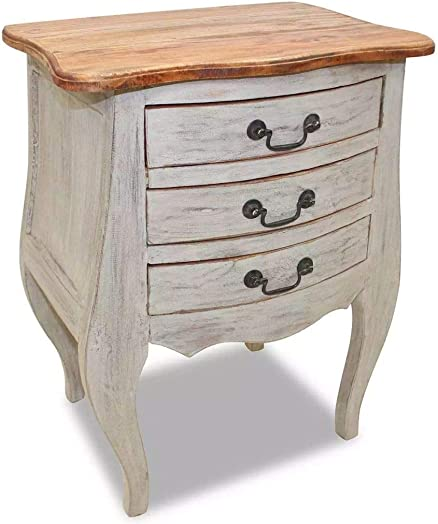 Editors' Choice: vidaXL Solid Reclaimed Wood Bedside Cabinet w/ 3 Drawers Nightstand Side Table