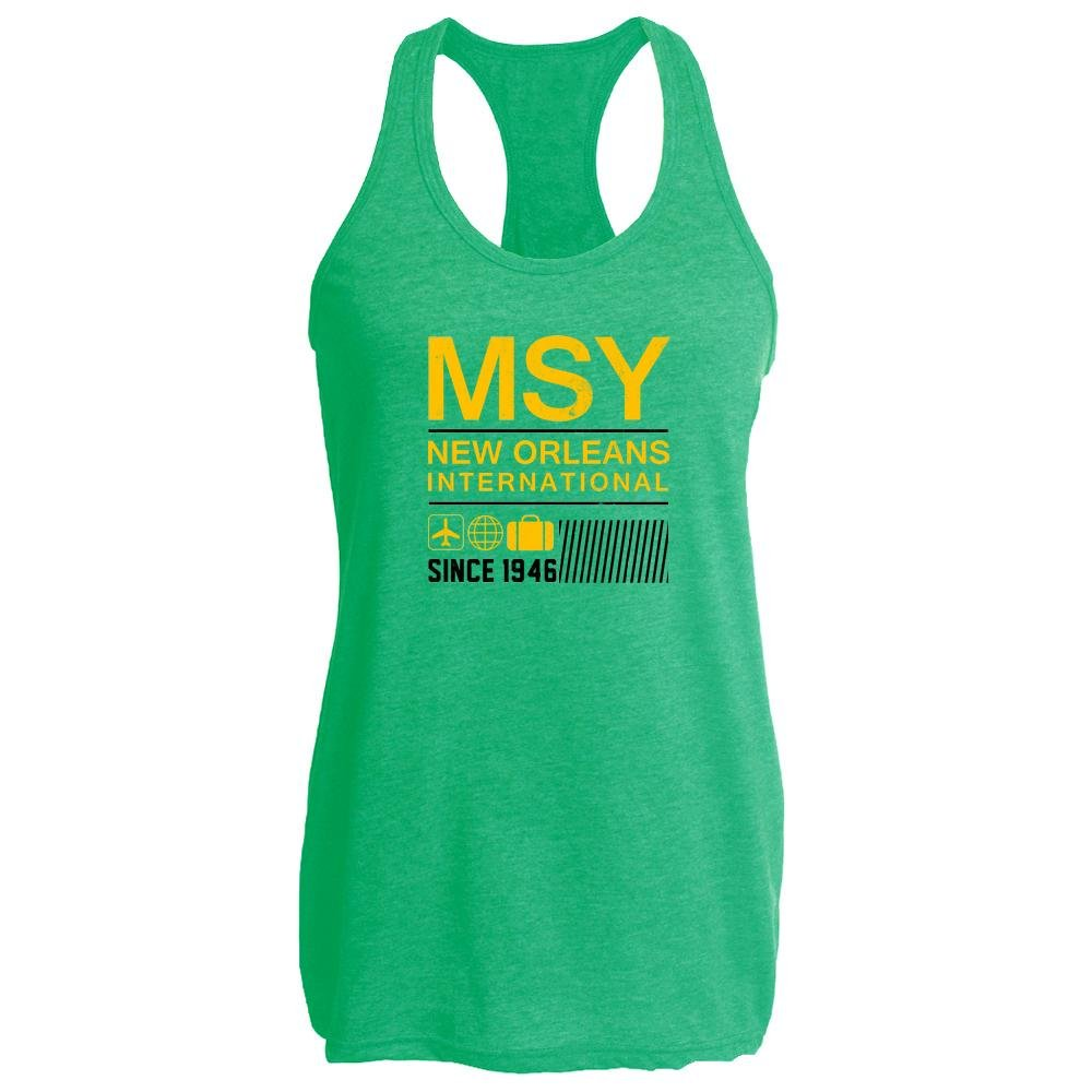 Pop Threads MSY New Orleans Airport Code Since 1946 Travel Heather Kelly 2XL Womens Tank Top