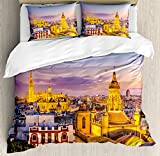 Cityscape Duvet Cover Set by Ambesonne, City Skyline in Spain Old Mediterranean Touristic Historic Nostalgic Print Home, 3 Piece Bedding Set with Pillow Shams, King Size, Multi