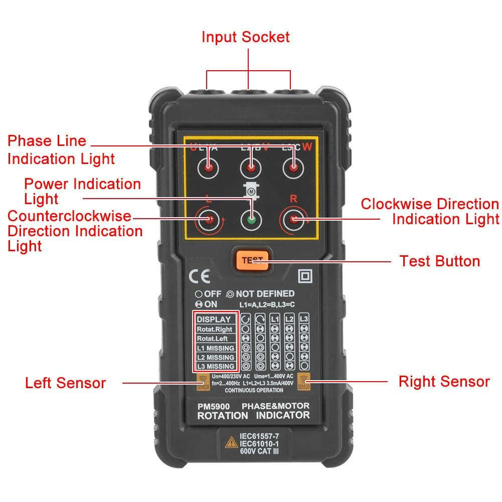 Handheld 3 Phase Sequence Presence Rotation Tester Indicator Detector Meter Support Non-Contact Type Tester Phase Indicator