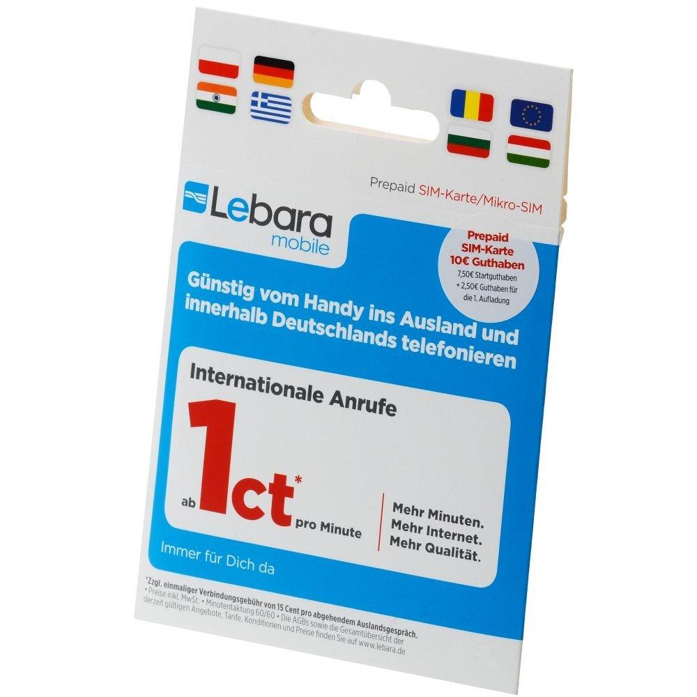Lebara - Mobile pre-Paid sim-Mapa con 10 guthaben - (7,50 ...