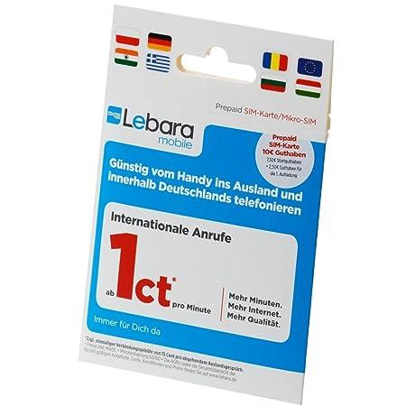 Sim Karte Prepaid.Lebara Mobile Pre Paid Sim Karte With 10 Guthaben Amazon Co Uk