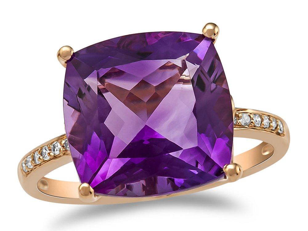 LALI Classics 14k Rose Gold Amethyst Cushion Ring Size 8