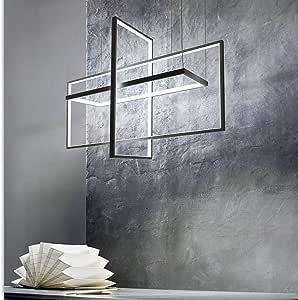 Creative Three-Frame Chandelier, Geometric Chandelier, Nordic Style LED, Aluminum Material, 110V~220V, Black, Size 60 * 23 * 44cm Handcraft