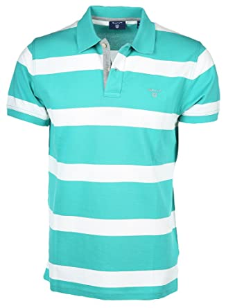 04ba0c13e61 Gant Porcelain Green Block Striped Polo Shirt XX-Large: Amazon.co.uk:  Clothing