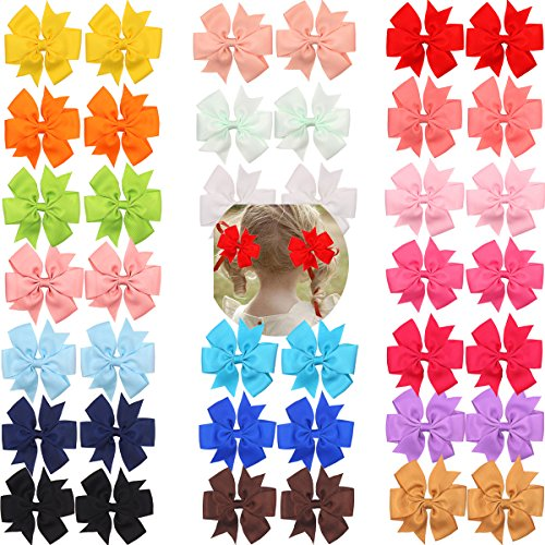 CELLOT 40pcs Boutique Grosgrain Ribbon Hair Bows with Alligator Clips for Baby Girls Toddlers Kids in Pairs -