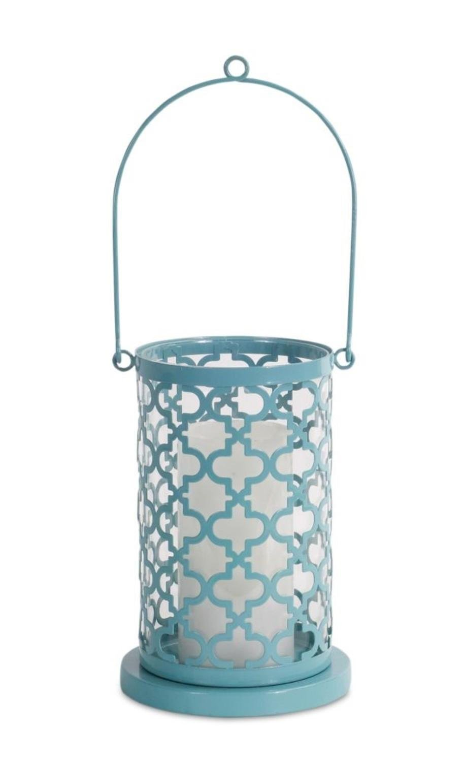 """Set of 4 Light Blue Decorative Candle Holder with Unique Appealing Pattern and Over Sized Handle 8.5"""" by Melrose"""