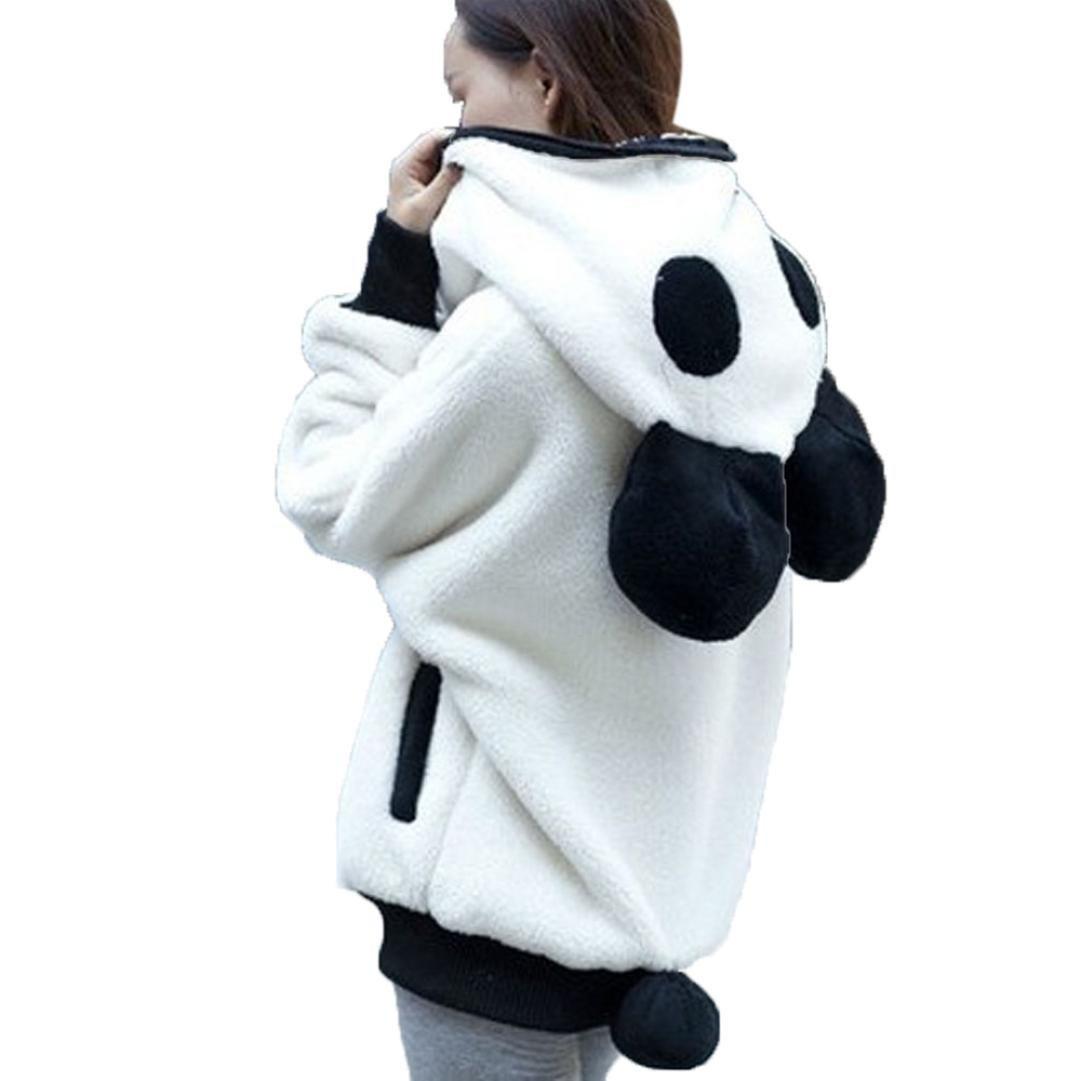 Kimloog Womens Cute Panda Ear Plush Winter Warm Hoodie Zipper Coat Hooded Jackets Outerwear (L, White)