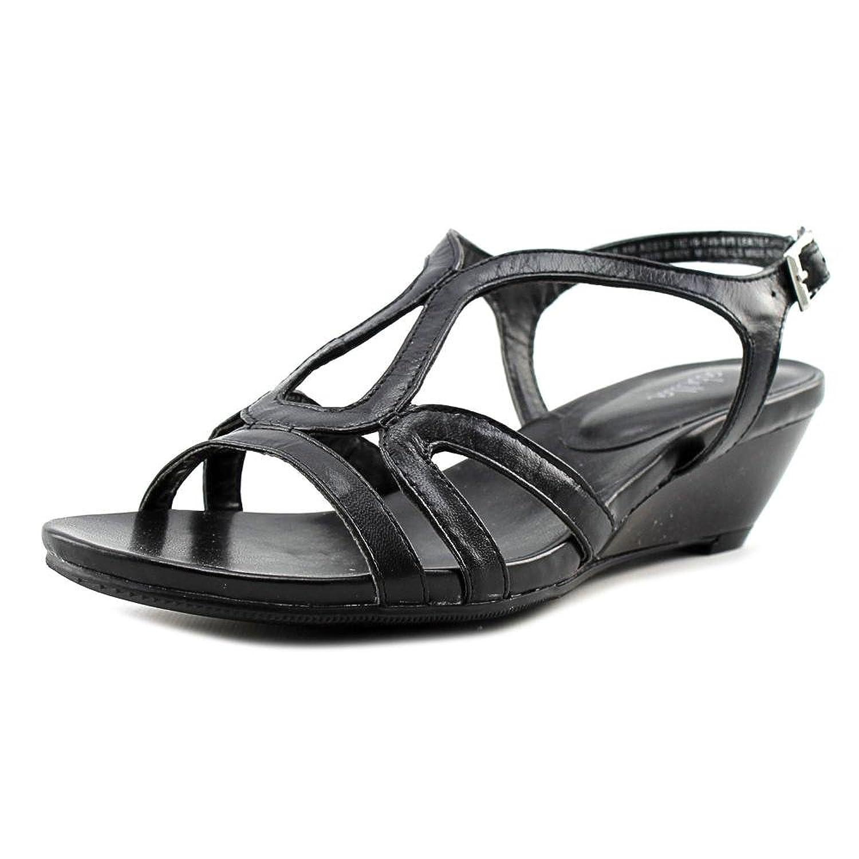 Abella Ingie Women Open Toe Leather Black Wedge Sandal