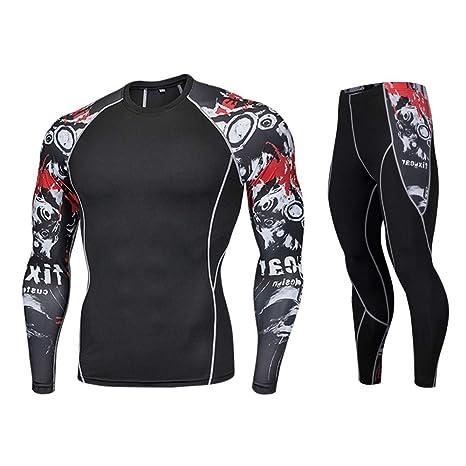 QinMM_Hommes Hombres Mallas Yoga Tops + Pantalones Disfraz Camisa ...