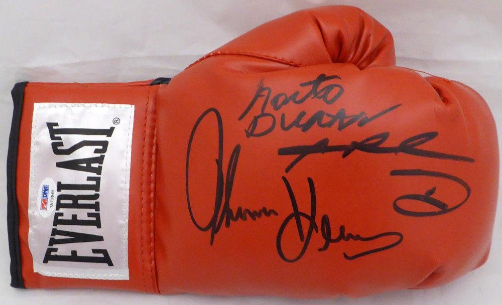 Boxing Greats Autographed Boxing Glove 3 Sigs Leonard Hearns Duran #7A73965 PSA/DNA Certified Autographed Boxing Gloves