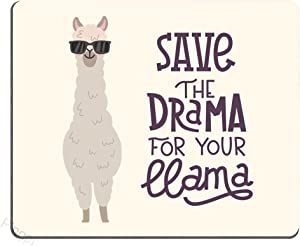 Llama Mouse Pad Cute Alpaca with Glasses with Lettering Quote Save The Dream for Your Llama Personalized Design Non-Slip Rubber Mouse pad